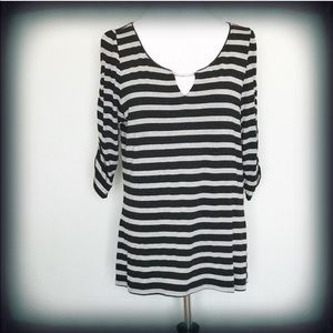 WHBM Black/Gray striped 3/4 sleeve blouse. Size XL